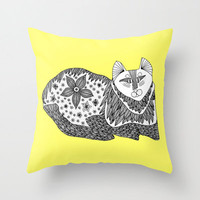 Yellow Kitty Throw Pillow - Double Sided Throw Pillow - Faux Down Insert - Illustrated Pillow Cover