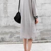 White or Lavender Grey Loose Fit & Dropped Shoulder Long Sleeve Cardigan Geometric Long Sleeve Dress;Summer Outer (BK5)