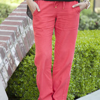 Drawstring Linen Pants - 6 Color Options!