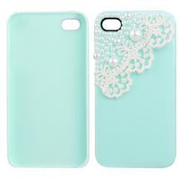 Lace Pearl Green Back Skin Case Cover for Apple iPhone 4 4s free shipping