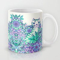 Garden Cat doodle in purple, blue & green Mug by micklyn | Society6