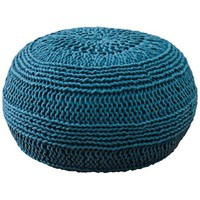 Teal Blue Roped Cotton Pouf Ottoman - #X5151 | LampsPlus.com