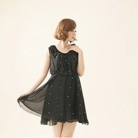 Idiosyncratic Lotus Leaf Border Pearl Embellished Dress Black-Wholesale Women Fashion From Icanfashion.com