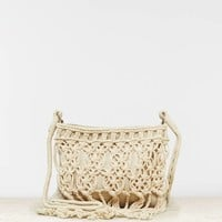 AEO Women's Macrame Crossbody Bag (Cream)