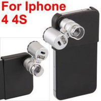 LED Light 60X Zoom Magnify Microscope Camera Micro Lens for iPhone 4 4s free shipping