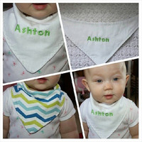 Personalized Green and Blue Chevron Baby Bandanna Bib