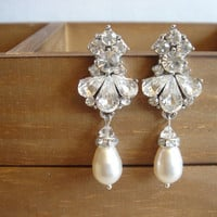 Harini Vintage Inspired Fleur Elegant Pearl Earrings. Art Deco Earrings. Vintage Style Bridal Earrings.