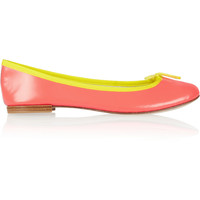 Repetto The Cendrillon neon glazed-leather ballet flats – 60% at THE OUTNET.COM