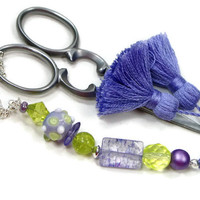 Scissor Fob, Lavender, Lime Green, Purple, Quilting, Sewing, Cross Stitch, Beaded, Scissor Minder, DIY Crafts, TJBdesigns