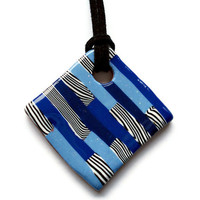 Diamond shaped pendant blue and zebra stripe by KireinaJewellery