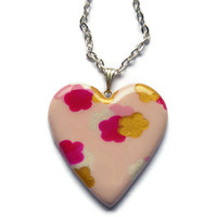 Heart pendant Pink fuchsia and white floral by KireinaJewellery