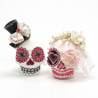 Mr. & Mrs. Day of Dead Theme Wedding Cake Topper Handmade Centerpiece Code 00127 | sweetiecaketopper - Wedding on ArtFire