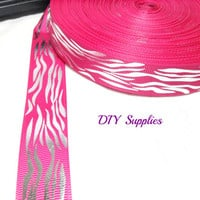 5 yards 7/8 grosgrain ribbon - hot pink silver flames metallic ribbon - printed ribbon - Wholesale ribbon - hair bow supplies - diy hair bow