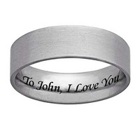 Men's Inside Engraved 6.5mm Band (25 Characters) in Stainless Steel - Personalized Rings - Shared - Zales