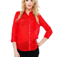 Papaya Clothing Online :: ROLL UP CHIFFON BLOUSE