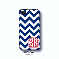 Monogram case - Chevron phone case, Personalized Monogram phone cover, Iphone 4,4S, 5, 5s, 5c & Galaxy S3, S4 cases, marine blue case (1220)