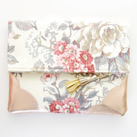 FLORIST 31 / Floral cotton & Natural leather folded clutch - Ready to Ship