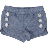 Button-Accented Chambray Shorts