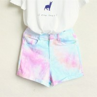 Women's Tie Dye High Waist Shorts