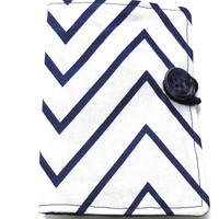 Tea Wallet, Blue Chevron, Narrow Zig Zag, Gift Card Wallet, Business Card Wallet