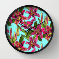 stargazer lilies Wall Clock by Sharon Turner | Society6