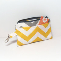 Cell Phone Wallet - Yellow Gray Chevron - Zipper Pouch - Coin Purse - Change Purse - Change Wallet