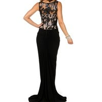 Camryn- BlackNude Long Prom Dress