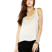 Papaya Clothing Online :: TRIMMING BEADED NECKLINE CHIFFON TOP