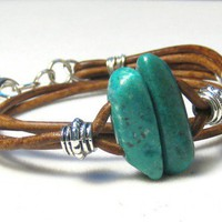 Turquoise Nugget Brown Greek Leather Wrap Bracelet | eponasjewels - Jewelry on ArtFire