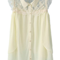 ROMWE Lace Panel Flouncing Asymmetric Cream Shirt