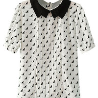 ROMWE Black Cat Print Pleated White Blouse