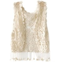 Zeagoo Women's See Through Crochet Tassels Waistcoat