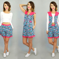 vintage 1990's high waist 2 PIECE FLORAL short + shirt matching SET separates, small-medium