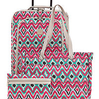 New Directions® 3-Piece Ikat Print Luggage Set - Belk.com