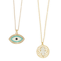 Hamsa & Evil Eye Necklace Set