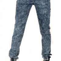 Dark Blue Drawstring Denim Jogger Pants