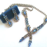 Taylor Maid Vintage Crystal and Blue Jewelry Set: Necklace & Earring Set in Original Box