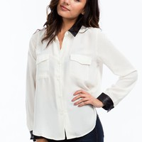 Coated Trim Georgette Blouse