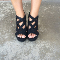 Black Interweaved Wedges