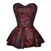 Black and Red Brocade Peplum Corset