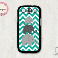 Mint Chevron Elephant Samsung Galaxy S3 Case, Samsung Galaxy SIII Case, Samsung Galaxy S3 Cover, Hard Protective Case