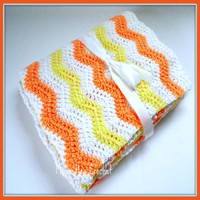 Handmade Chevron Yellow Baby Blanket White Peach Crib Blanket