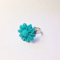 "Handmade ""Festival Sunflower"" Teal Sunflower Adjustable Ring Neon Summer coachella"