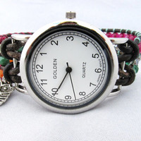Colorful Pink and Green Leather Wrap Watch