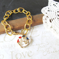 FIRST MATE nautical charm bracelet with red white and by brideblu