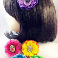 Camellia Felt Flower Hair Clip Collection with Vintage Style Centers