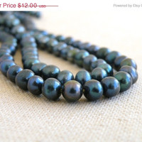 51% CLEARANCE Sale Freshwater Pearl Gemstone Dark Forest Green Teal Roundish Potato 6mm Full Strand 70 beads