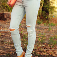 Tear Me Away Jeans: Light Denim | Hope's