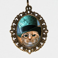Steampunk Cat Necklace Oval Pendant