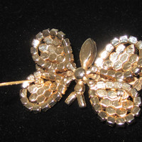 Rhinestone Butterfly Brooch With Upper Moveable Wings Vintage